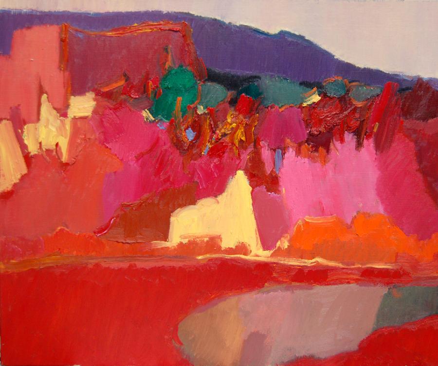 5《红色风景》油画 50x60cm.JPG